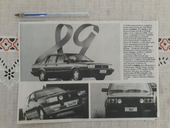 Recorte Jornal Matéria Propaganda Vw Santana Gol Gti Gol 89