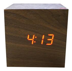 Relógio Digital Madeira 8 Cm Data Temperatura Hora
