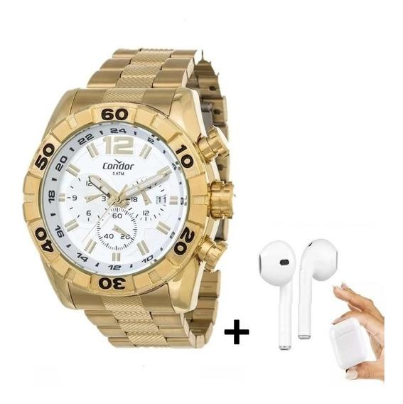 Relógio Condor Masculino Dourado 4 K Covd33aa/4k Com Fone