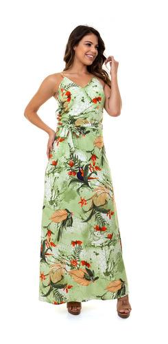 Vestido Kinara Longo Crepe Bojo Estampado Verde