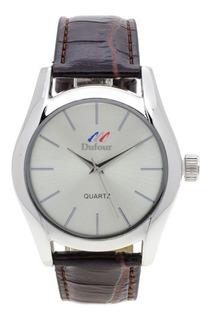 Reloj Hombre Malla Cuero Caja Metal D15015