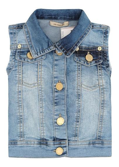 Colete Jeans Infantil Feminino Cavado