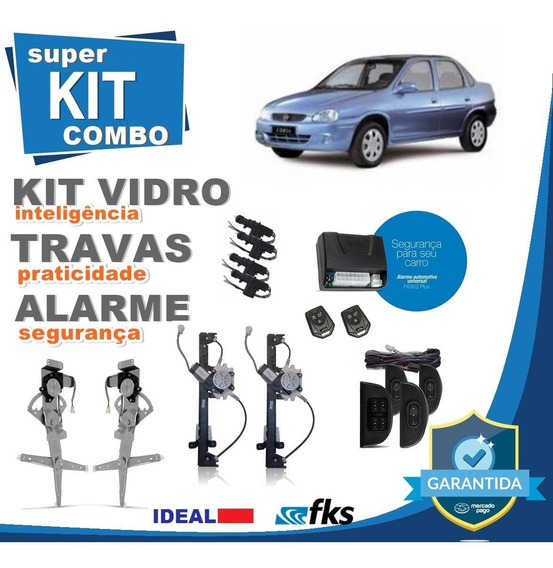 Kit Vidro Elétrico Corsa Classic 2005 4 Portas+alarme+travas