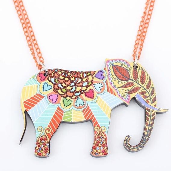 Colar De Acrílico Elefante Indiano