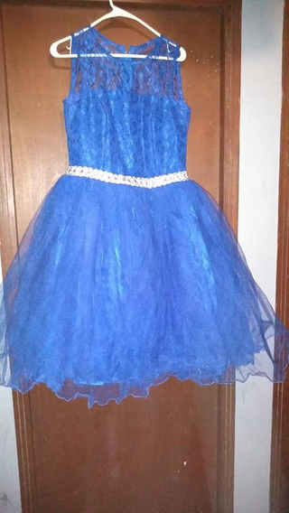 Vestido Azul Rey De Tul Y Encaje