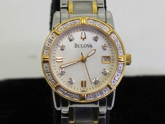 Relógio Bulova 98r107 Perolizado, 8 Diamantes Genuinos
