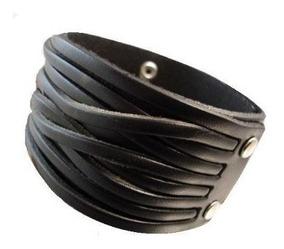 Pulseira De Couro Bracelete Masculino Cor Marrom 3 Ajustes