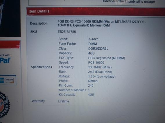Memória 4gb Ddr3 Pc3-10600 Rdimm (para Servidor)