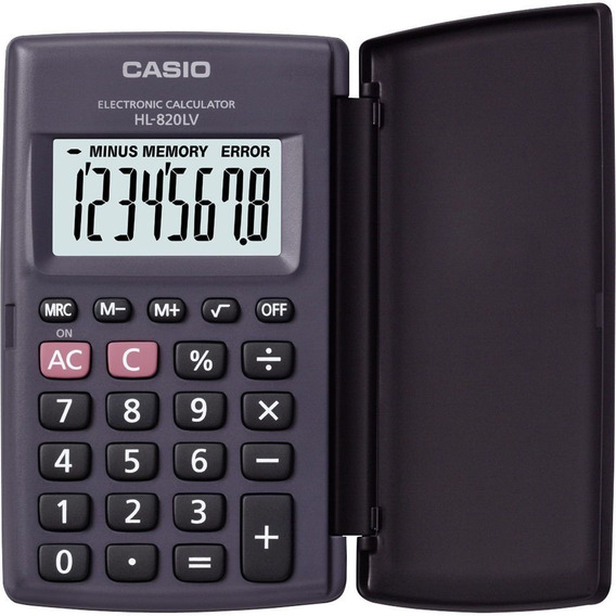 Calculadora De Bolso 8 Dígitos Casio Hl820lv Preta Capa Flip