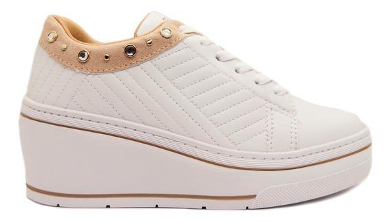 Zapatillas Mujer Cuero Ecológico Blanco Base Alta Ramarim