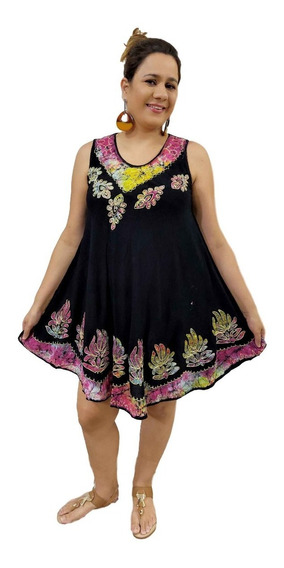 Vestido Feminino Alça Trapézio Indiano Plus Size Boho- 1287