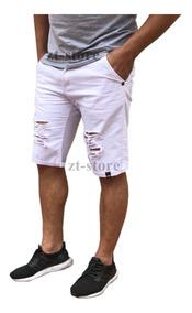 Kit 2 Bermudas Shorts Jeans Rasgada Desfiada Destroyed