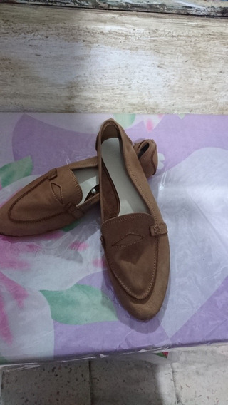 Zara Zapatos Mujer Beige Original Piel