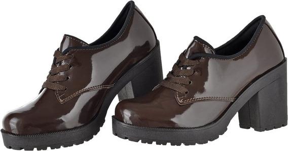 Sapato Feminino Com Salto Grosso Moderno Tratorada Macia