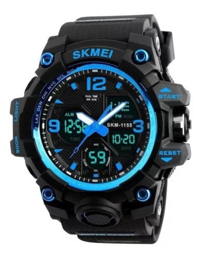 Relógio Skmei 1155b Digital Analogico G -shock Azul