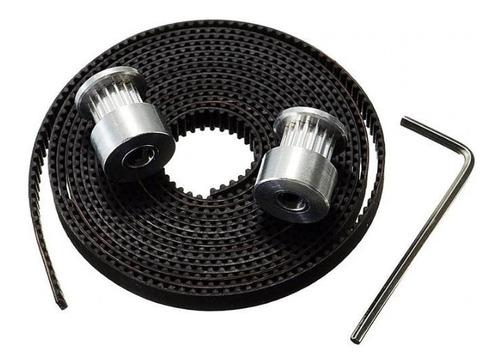 Imagem 1 de 4 de Kit Impressora 3d 3m Correia Gt2  2 Polia Pode Escolher Gt2 Ou Com Rolamentos Furo 5mm