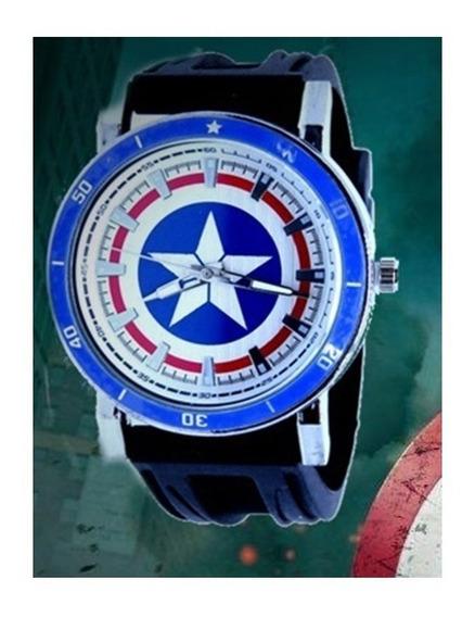 Relógio Capitão América Escudo Estrela Infantil / Adulto Top