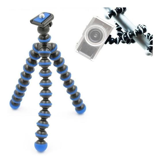 Mini Tripé De Mesa Flexível 26,5cm Azul C/ Cabeça De Bola