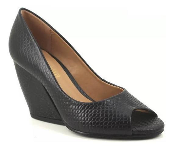 Sapato Social Feminino Salto Grosso 9cm Peep Toe Aberto
