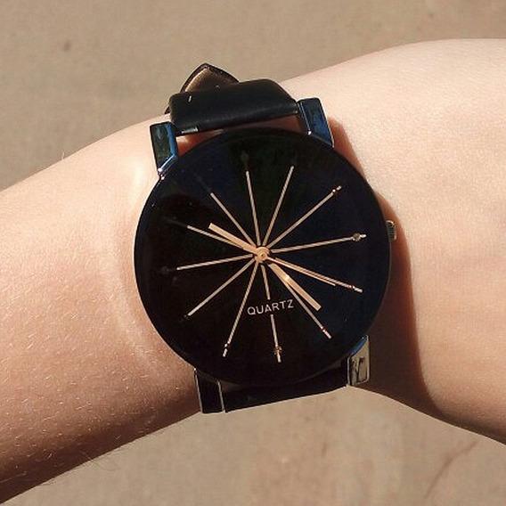 Relógio Unissex Pulseira De Couro Quartzo Luxo Envio Rápido