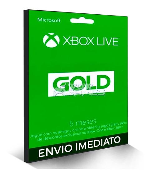 Xbox Live Gold 6 Meses - Envio Imediato - Código 25 Digitos
