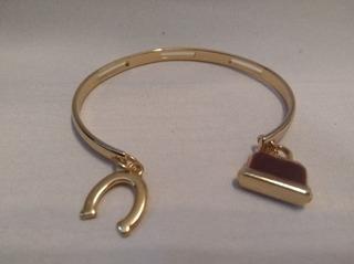 Pulseira Bracelete Flor De Lis Com Couro Semi Joia Numero 4
