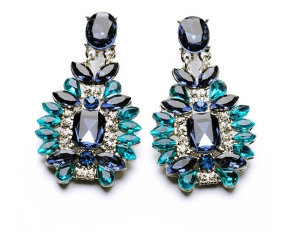 Brinco Moda Elegante Brilhante Resina Pedra Planta Azul