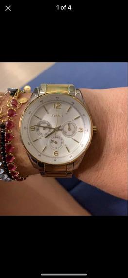 Relógio Prata Com Dourado Fóssil