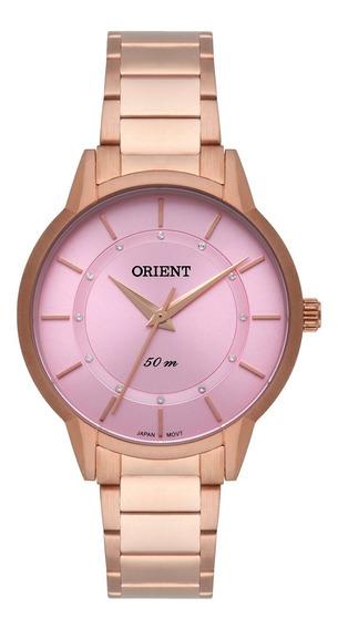 Relógio Orient Feminino Frss0042 R1rx Dourado Rosê -refinado
