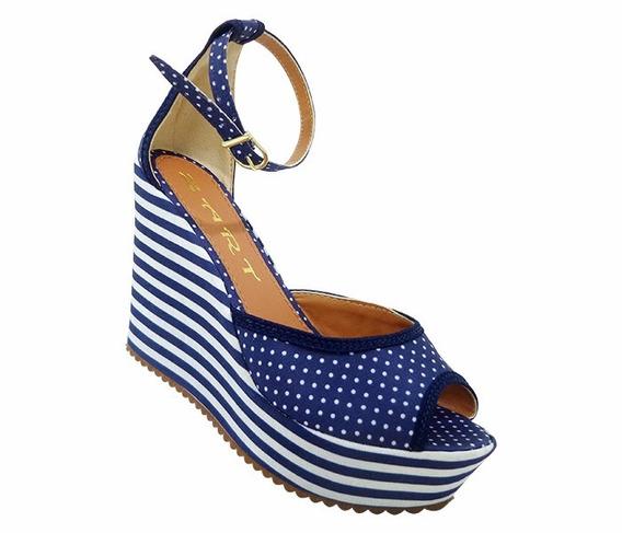 Sandália Feminina Plataforma Azul E Branco