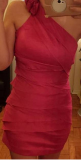 Vestido Tafetá Rosa Pink Festa Noite Balada Formatura Usado