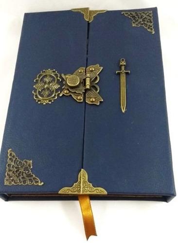 Imagem 1 de 7 de Grimório Maçom Artesanal Capa Externa Corano Azul