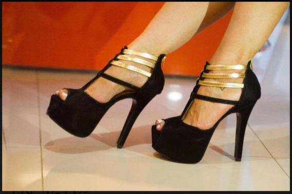 Sandalia Para Festa Preta Com Dourado Salto 15