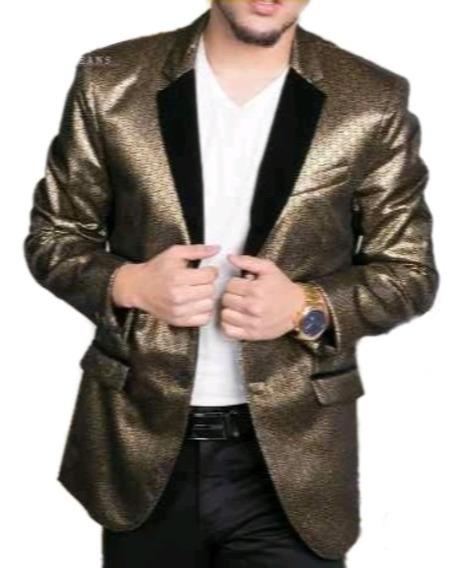 Saco Hombre Premium Moderno Mj 712 Dorado Importado