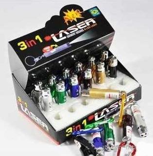Atacado Kit 24 Mini Chaveiro Laser 3em1 Lê Notas Falsas