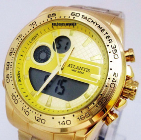Relógio Mundial Atlantis Edifice Dourado.