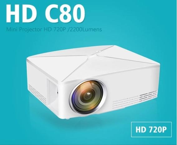 Projetor Data Show C80 Hd720p Nativo+suporte Menor Preço