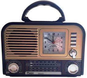 Rádio Relógio Radinho Retrô Moderno Caixa De Som Usb Pendriv