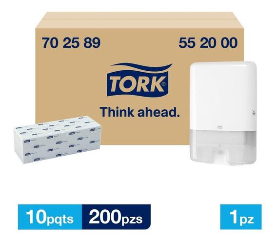 Tork Dispensador Maxi + Interdoblada Univ Hd 10 Paq / 200 Pz