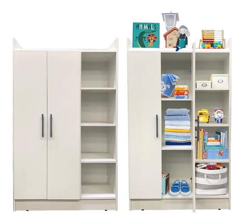 Ropero Placard 2 Puertas Infantil Dormitorio Bebe Blanco @