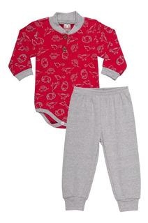 Roupa Bebê Menino Conjunto Body E Calça Longo Inverno Botões
