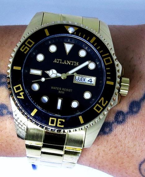 Relógio Submariner Dourado Atlântis Original Barato Cód:137