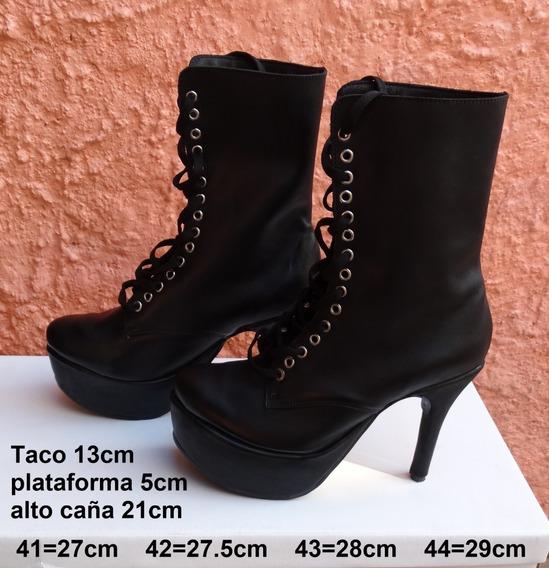 Borcego De Cuero Con Taco Aguja Y Plataforma - 41 42 43 44