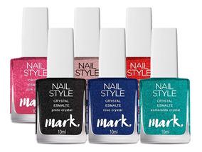Kit 6 Esmaltes Avon Mark Nail Style Crystal 10ml