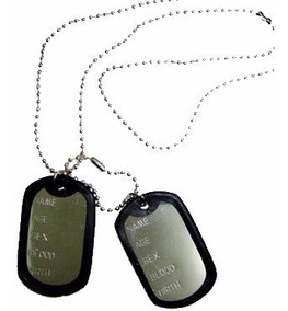 Kit 3 Correntes Militar Com 2 Placas Identificação Exercito