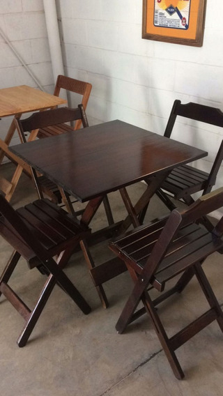 Conjunto Dobravel 70x70 Com 4 Cadeiras