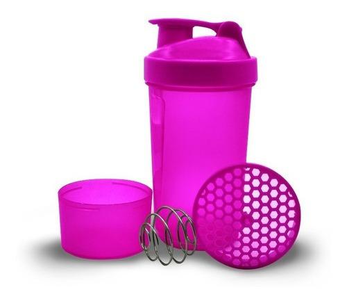 Imagen 1 de 5 de Termo Mezclador Proteína Shaker Neon 600ml 3 En 1 Gym Deport