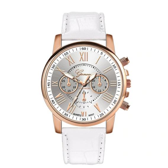 Relógio Rosê Feminino Pulseira Branca Rg001f Promoção!!!