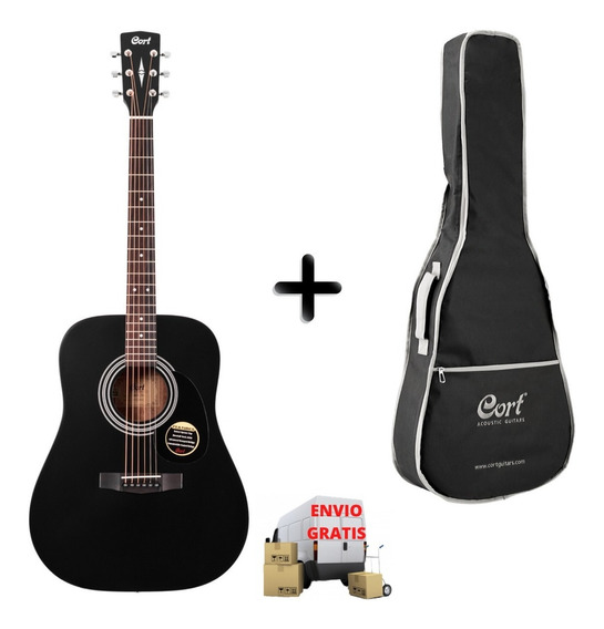 Guitarra Acustica Cort Ad810 Bks Con Funda Cort