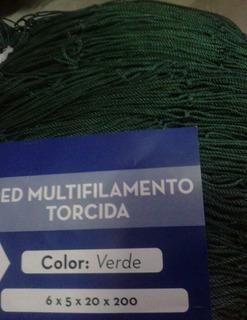 Red De Pesca Malla Multifil Torcida Verde 6x 5 Caida 20x200m